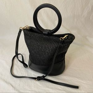 Street Level black raffia vegan leather ring bag